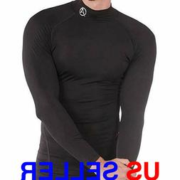 ARMEDES Mens Mock Long-Sleeved T-Shirt Cool Dry Compression